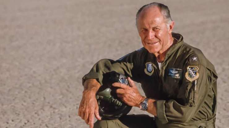 Chuck Yeager poses during a portrait session circa 1986 at Edwards Air Force Base near Edwards, California
