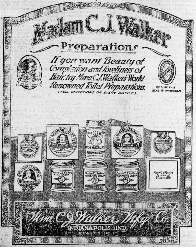 Newspaper ad for Madam C.J. Walker Preparations