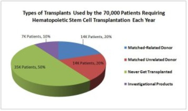 Types of Transplants Used by the 70,000 Patients Requiring a Hematopoietic Stem Cell Transplant Each Year