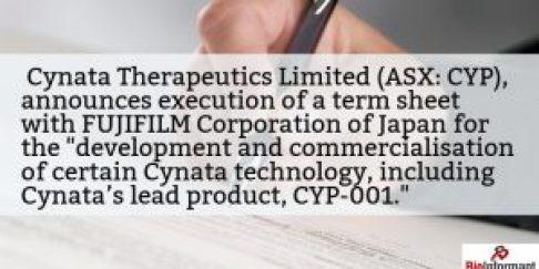 Cynata Signs Term Sheet with FUJIFILM