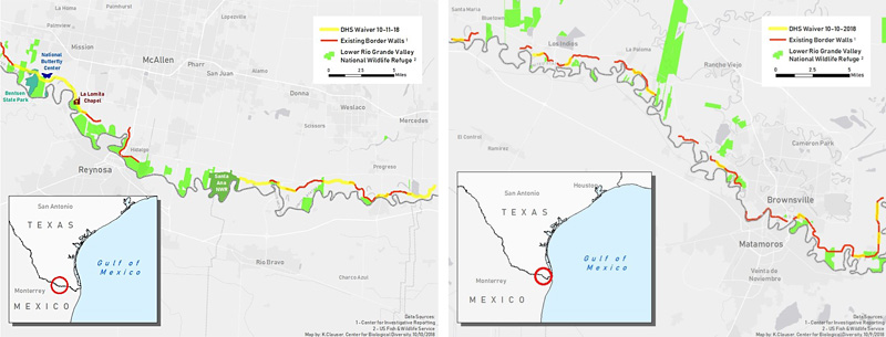 Border wall waiver maps