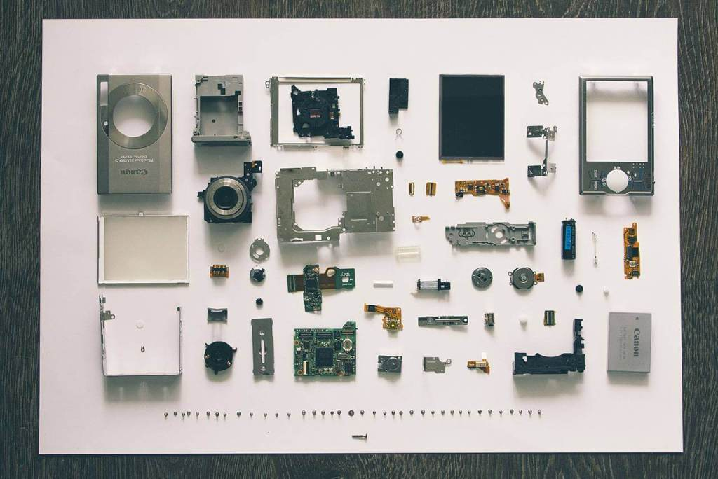 A collection of hardware part samples
