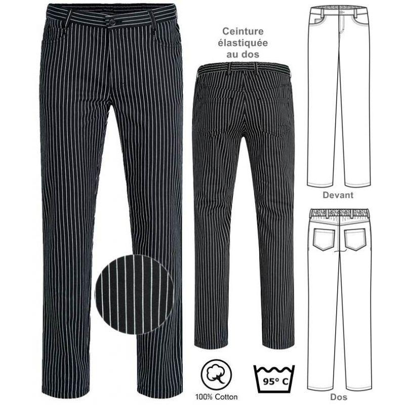 pantalon de cuisine et service raye noir et blanc coton peut bouillir