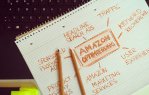 a mind map about online marketing on a notebook