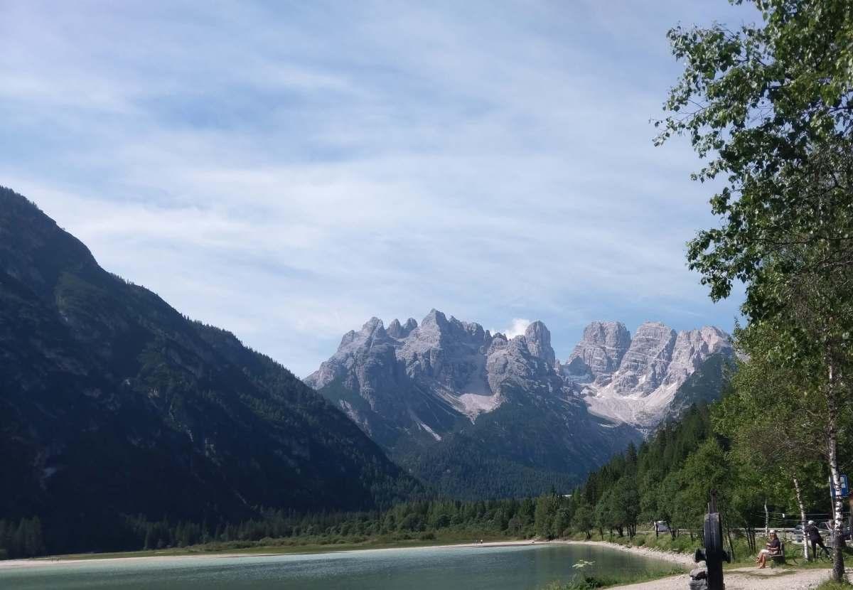Blick über den Dürrensee auf den Monte Cristallo
