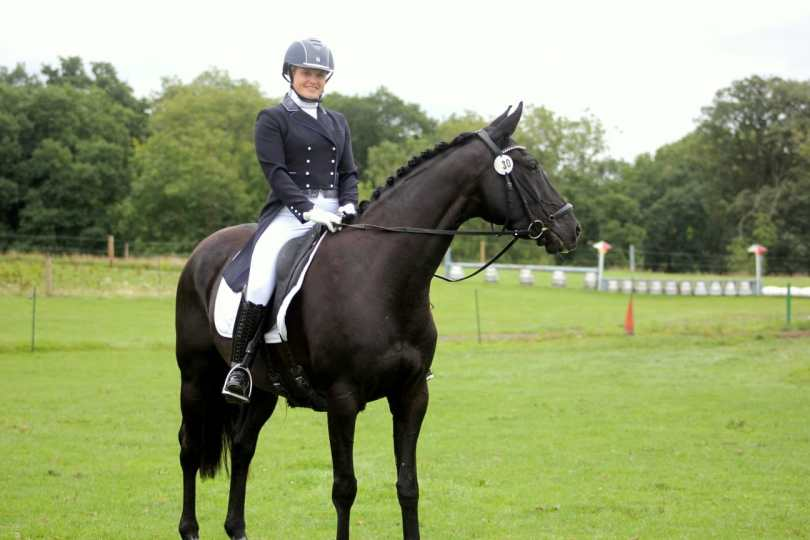 Hannah Bown with Sandros Storm after winning his first Advanced 102 at Pachesham EC, 30th August 2020