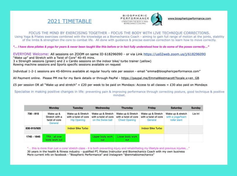 2021 Timetable for getting a stronger fitter body