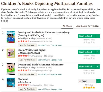 Multiracial Children's Literature on Goodreads