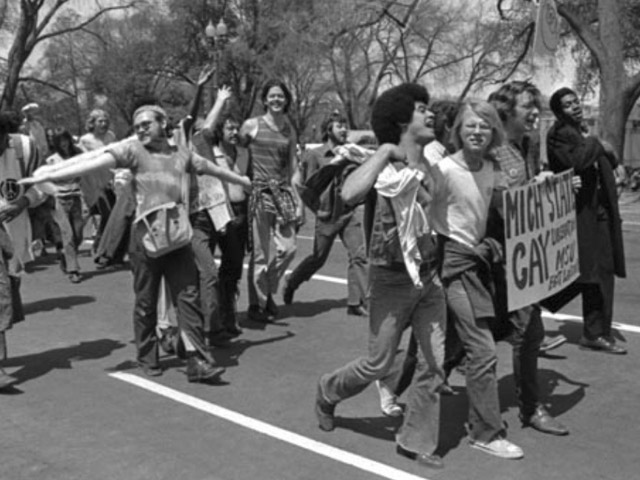 GLF-DC activists join Michigan State U contingent in antiwar march, 1971.