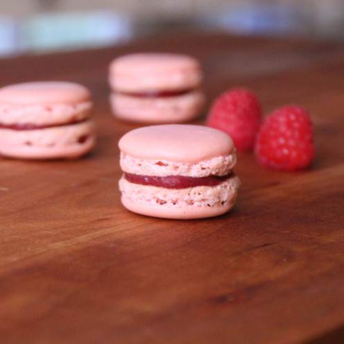 Raspberry Lemon Curd Macarons