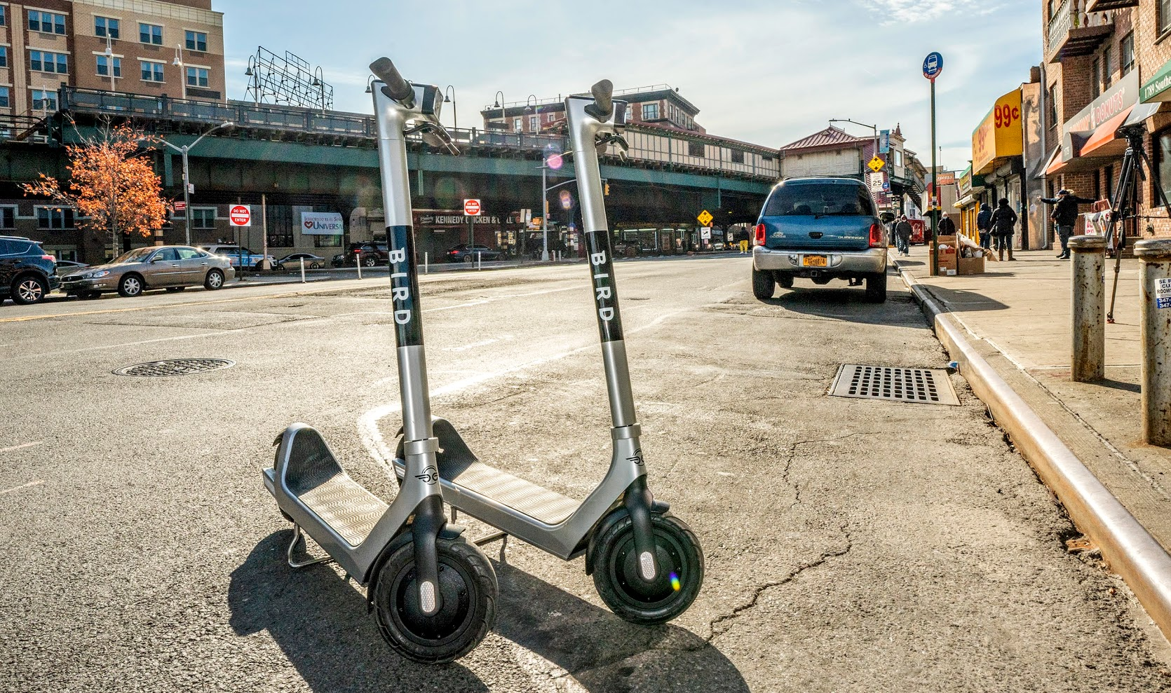 Two Bird scooters parked near sidewalk curb