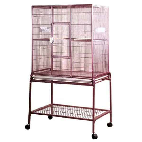 Indoor Aviary Bird Cage & Stand for Smaller Birds by AE 13221 Burgundy