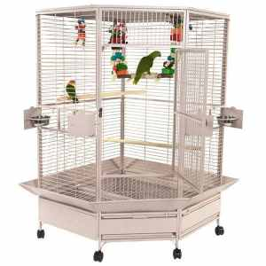 Corner Bird Cage for Large Parrots by AE CC4242 White