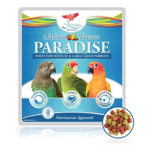 Scenic bird food Paradise mixed flavor Bag label with picture of afircan grey amazon macaw parrots