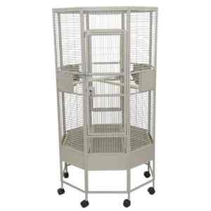 Octagon Shape Parrot Cage for Medium Size Parrots by AE OCT3636 Black