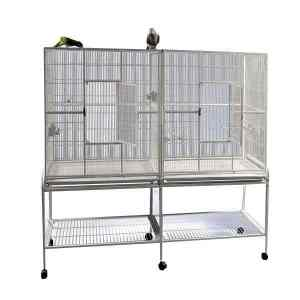 Divided Bird Aviary Cage for Smaller Birds by AE 6421 White