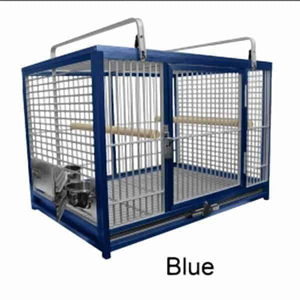 Aluminum Travel Cage for Large Birds by King's Cages Blue ATM2029