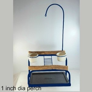 Deluxe Table Top Bird Stand Midnight Blue w 1 Inch Perch