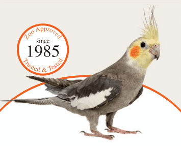 Zoo Approved Marion Zoological Scenic bird food lable with picture of grey cockatiel