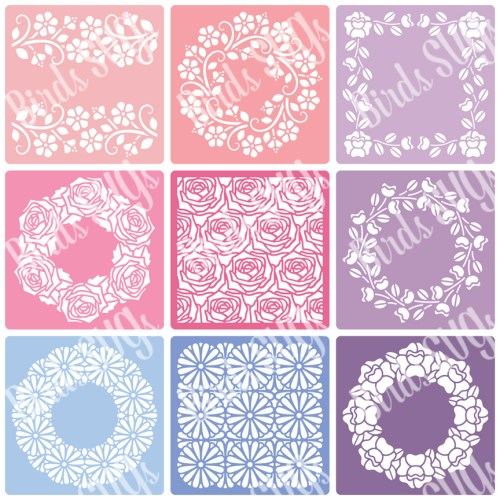 Flowers-and-Frames-SVG-Stencil-Collection