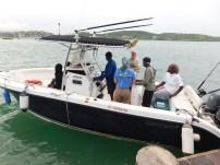 Departing from Antigua, left to right: Rudolph Zachariah, Lenn Isidore, Captain Len Mussington, Frank Rivera-Milan, Jeff Gerbracht, Dwayne Philip and Kelvin 'Biggz' Samuel (Photo by Natalya Lawrence)