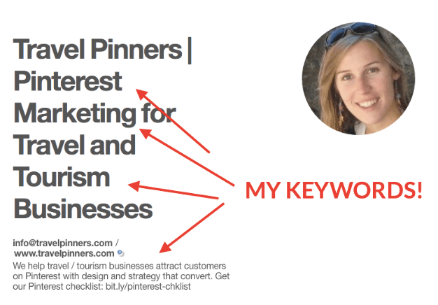 5 ways to Rock Pinterest - A Guide for Travel Bloggers. 2. Optimize your profile with your niche keywords