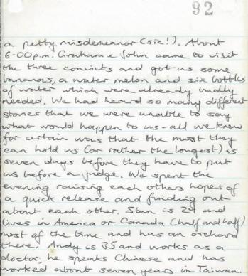 Segment of Robert Fear's Original diary from Chang Man
