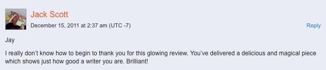 Jack Scott feedback on my review