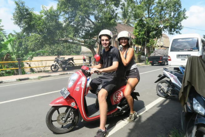 Cruising through Bali with our £2 per day mopeds Jon and Mia