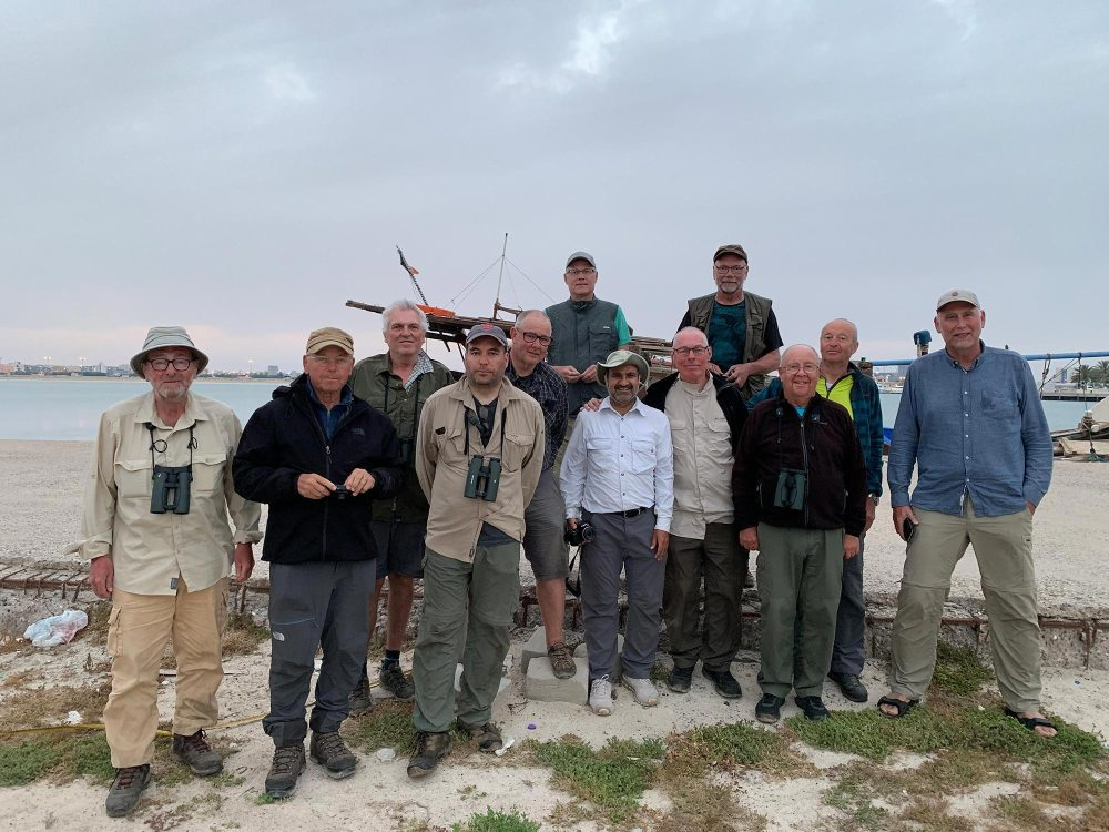 The tour participants along with four Danish birders who shared the boat trip with us