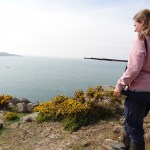 Jess, chough field assistant, radio-tracking at Sorel. Photo by Liz Corry