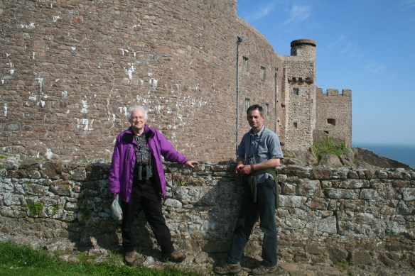 Edward Mayer and John Pinel at Mont Orgueil. 30th April 2014. Photo by HGYoung