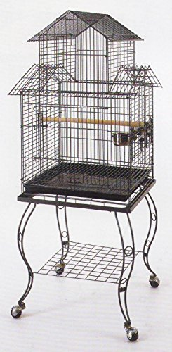 Large 20 Inch Pagoda Roof Top Top Parrot Lovebird Cockatiel Cockatiels Parakeets Bird Cage With Removable Stand
