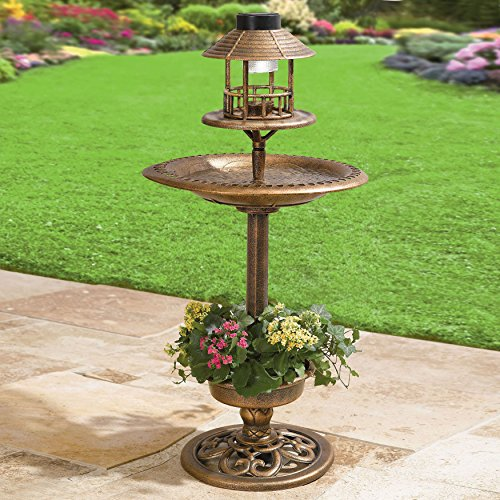Solar Led Lighthed Bronze Resin Weatherproof Bird Bath Feeder