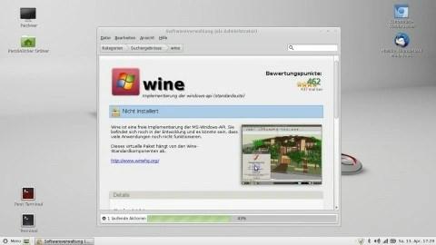 Bild: Die Installation des Windows Emulators WINE unter LMDE 21303. Klicken Sie auf das Bild um es zu vergrößern.