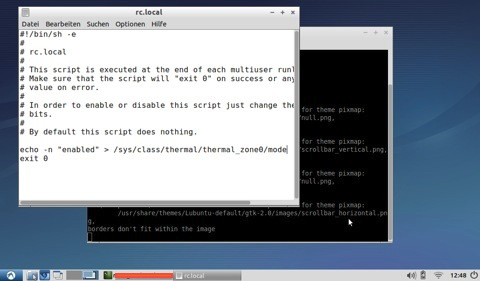 Bild: Bild: Das Kernelmodul acerhdf wird unter Ubuntu / Lubuntu / Kubuntu / Xubuntu Linux in die Datei /etc/rc.local eingetragen.