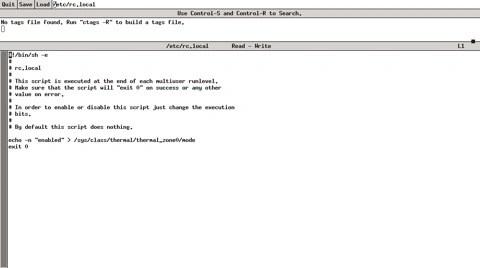 Bild: Die Datei /etc/rc.local mit dem Eintrag für die Lüftersteuerung des Acer Aspire One 110L.