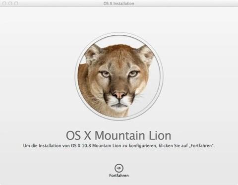 """Bild: Klicken Sie nach dem Download von OS X 10.8 Mountain Lion auf """"Fortfahren""""."""