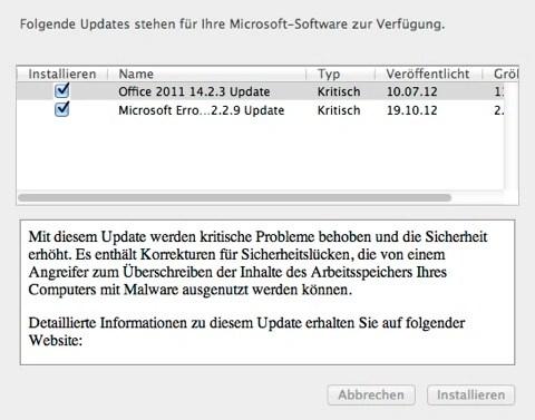 """Bild: Laden Sie die wichtigsten Updates herunter. Klicken Sie dazu auf """"Installieren""""."""