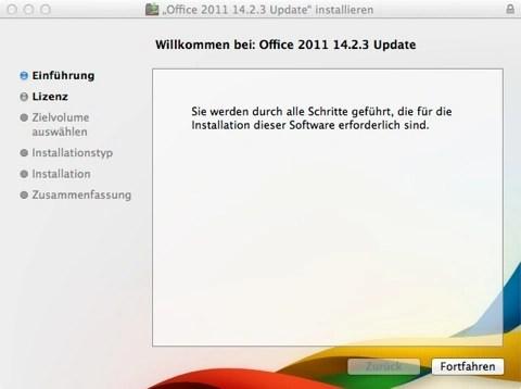 """Bild: Und weiter geht es mit der Installation der Updates für Microsoft Office:mac 2011. Klicken Sie auf """"Fortfahren""""."""