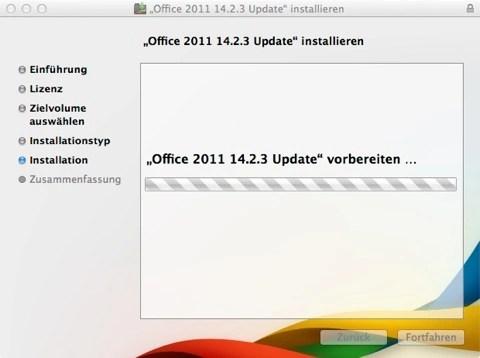 Bild: Schon startet die Installation des ersten Update für Microsoft Office:mac 2011.
