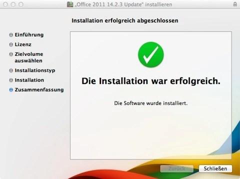 Bild: Langsam kommen wir zum Ende der Installation von Office für Mac.