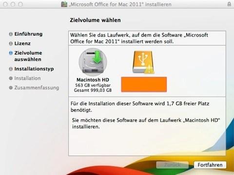 """Bild: Wenn Sie mehrere Festplatten haben, können Sie eventuell eine von der Mac Installation abweichende Festplatte wählen. Klicken Sie ansonsten auf """"Fortfahren""""."""