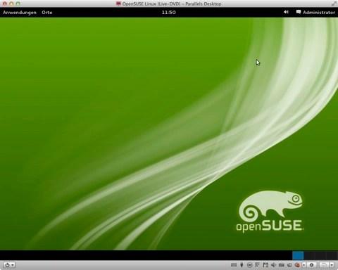 Bild: Nach dem Starten zeigt openSUSE 12.1 einen sehr schön aufgeräumten Desktop.
