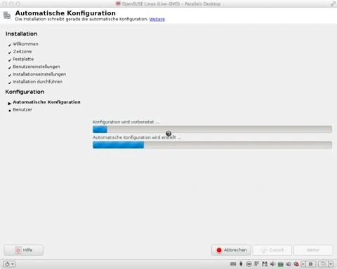 Bild: Nach wenigen Minuten ist der zweite Teil der Installation von openSUSE beendet und Ihr Acer Aspire ist bereit zum Feintuning.