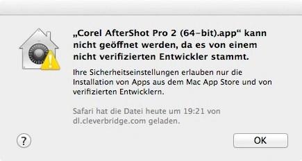 Bild: Der erste Start von Corel AfterShot Pro 2 bricht unter Mac OS X wahrscheinlich mit mit einer Fehlermeldung ab, da es von einem nicht verifizierten Entwickler stammt. Kein Grund zur Panik.