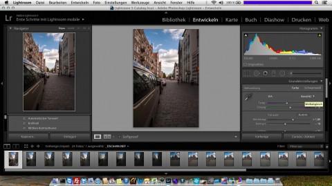 Bild: Adobe Lightroom 5 läuft auf dem MacBook Air 11'' problemlos - aber leider nicht im Vollbildmodus.