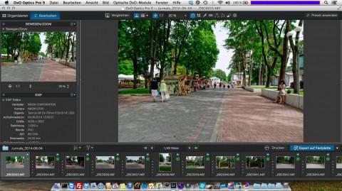 Bild: DxO Optics Pro 9 macht auf dem MacBook Air 11'' ebenfalls keine Probleme und lässt sich auch im Vollbildmodus ausführen ...
