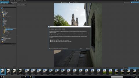Bild: Fehlende Kamera-Objektiv-Module werden bei DxO Optics Pro 10 Elite aus dem Internet nachgeladen.