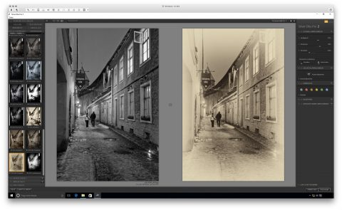 Bild: Google Nik Collection - Silver Efex Pro 2 unter Windows 10. Links das Originalfoto im Format JPEG. Rechts das nachbearbeitete Foto im Format JPEG.